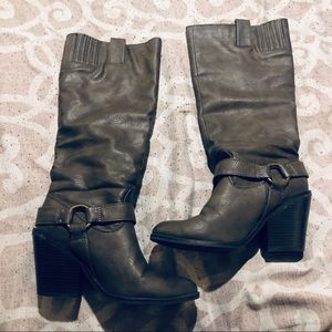 JustFab Leather Boots Taupe Size 9